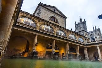 Photo: Steam rising off the Roman Baths