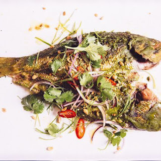 Whole Grilled Fish with Vietnamese Peanut Pesto.