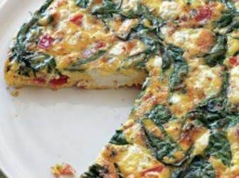 Spinach, Tomato, Feta Frittata
