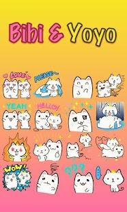 Cats CEO Bibi & Yoyo TouchPal Keyboard Sticker - náhled