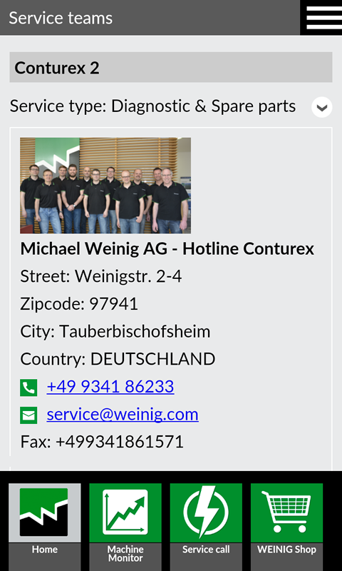 WEINIG App Suite- screenshot
