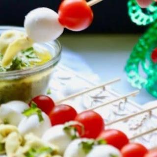 Make-Ahead Caprese Skewers with Pesto.