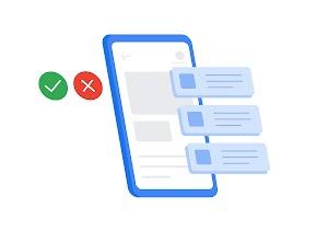 手機左側有綠色勾號和紅色 X 圖示,右側則是從螢幕延伸出來的 3 段文字,彼此垂直排列