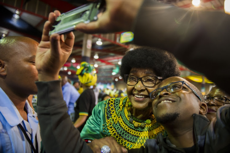 Winnie Madikizela Mandela during Cyril Ramaphosa's first speech as the newly elected as the president of the ANC at 54th African National Congress national conference at the Nasrec Expo Centre on December 20, 2017 in Soweto.