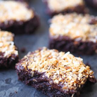 Fudgy Coconut Brownies with Chocolate Ganache.
