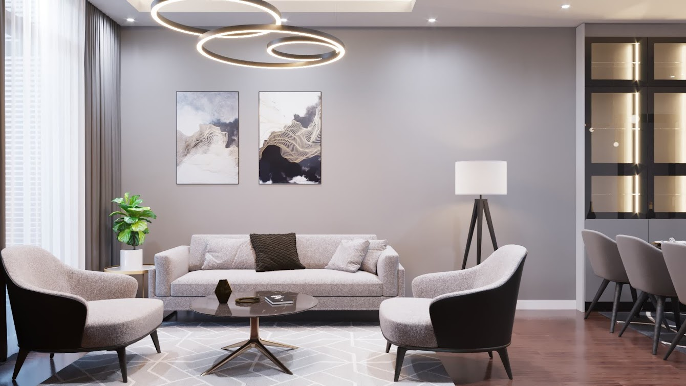 Trong một thiết kế khác, phòng khách chung cư Gold Season trở nên tinh tế hơn khi sử dụng nội thất Eurowindow.
