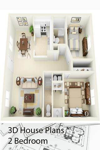 D House Plans  Bedroom Android Apps On Google Play - Small house design 3d 2 bedrooms