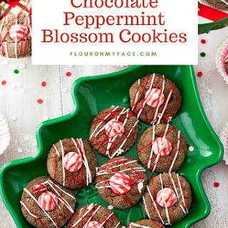 Chocolate Peppermint Blossom Cookies.