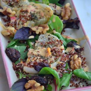 Roasted Onion Arugula Summer Salad with Creamy Hummus Dressing (Vegan, Dairy-Free, Gluten-Free, Soy-Free, Paleo).