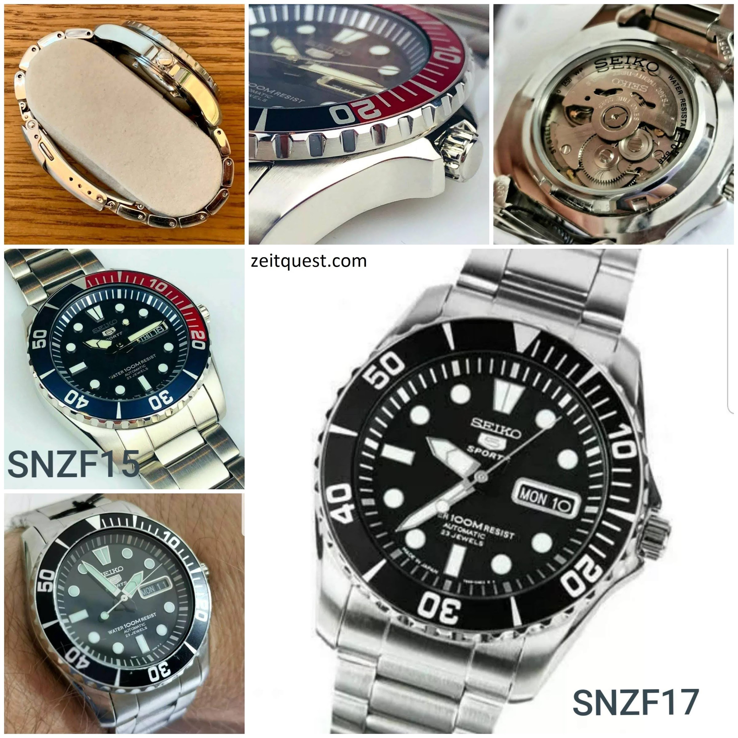 The Seiko 5 SNZF17 and SNZF15 can be seen as a very affordable diving watch with a similar style to the Rolex Submariner. Available on eBay