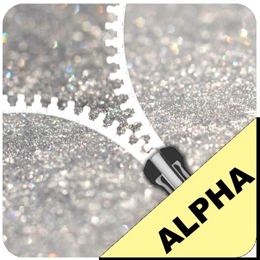 Silver Glitter Zip Lock ziplock lockescreen theme