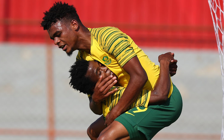 Orlando Pirates' AS Monaco-bound teenage striker Lyle Foster celebrates after scoring his second goal in a 5-0 romp over Mauritius in their opening match of the Cosafa Under-20 Championships in Kitwe, Zambia, on Sunday December 3 2018 at Nkana Stadium.