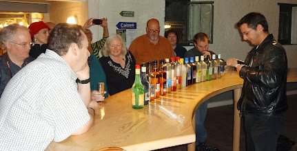 Photo: Some people have their ducks in a row... we get our Jenever bottles in a row!