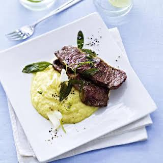 Veal Steaks with Sage Polenta.