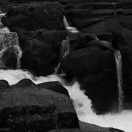 Rotorua Waterfall by Karina Zawilinski - Black & White Landscapes ( current, rapids, waterfall, flowing water, river, rockface )
