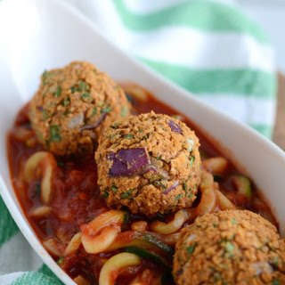 Zoodles with Vegan White Bean Meatballs