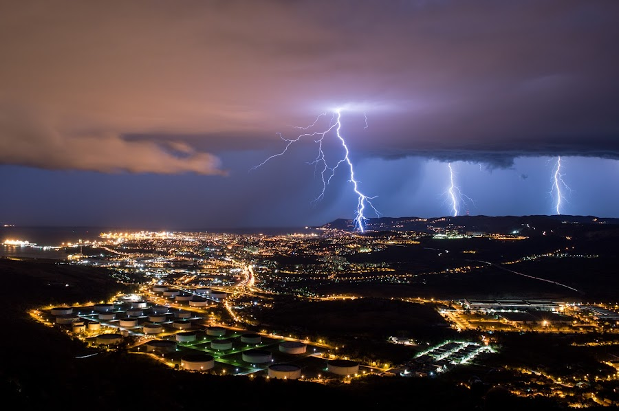 Lightning tripplets by Matic Cankar - Landscapes Weather ( thunder, beautiful, sea, cityscape, storm, city, lights, strike, lightning, trieste, stormchasing, night, italy,  )
