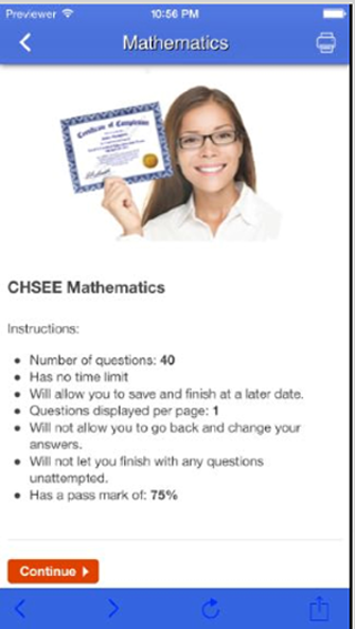 CHS Prep Exam- screenshot