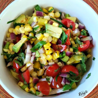 Grilled Corn, Avocado & Tomato Salad with Honey Lime Dressing.