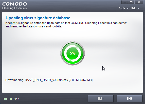 thumbapps.org Comodo Cleaning Essentials (CCE) portable, Updating signature...