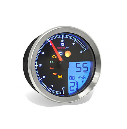 KOSO Tachometer / Tachometer for Yamaha XV950 / Bolt / Yamaha SCR950 with chrome ring, with ABE