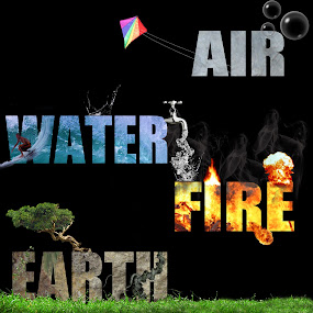 by Keith Williams - Typography Words ( unmadesugar, water, wind, earth, elements, fire )