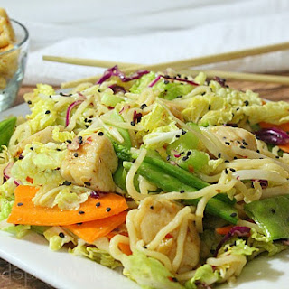 Cold Sesame Chicken Noodle Salad
