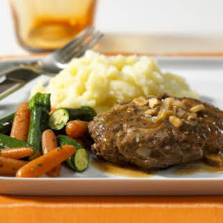 Beef Burger, Mashed Potato and Vegetables.