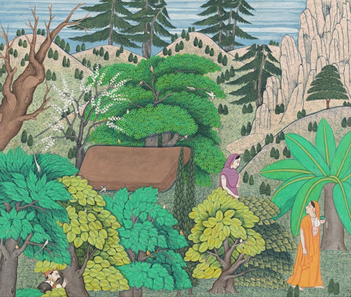Shakuntala Returning to Her Cottage with a Heavy Heart, While Dushyant Watches his Beloved Depart