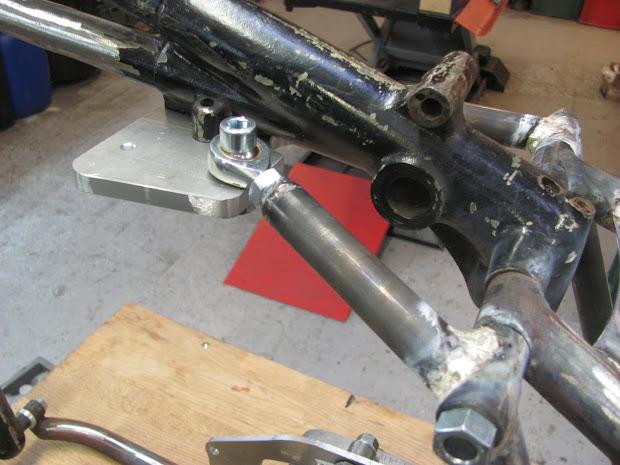 Triumph Pré-Unit frame modified for the blower.