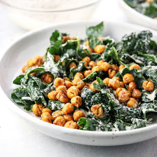 Vegan Kale Caesar Salad with Garlic Roasted Chickpeas.