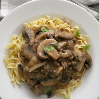 Slow Cooker Ground Beef Stroganoff.