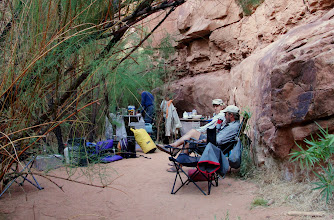 Photo: A large protected area behind the tammies served as a nice kitchen area.