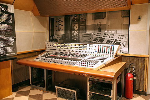 A recording console in RCA Studio B.