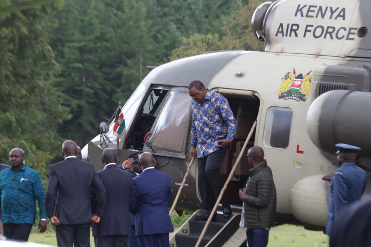 President Uhuru Kenyatta arrives at Sagana on Friday, November 15, 2019.