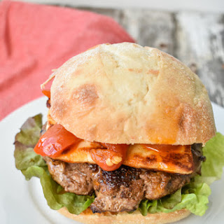 Roasted Red Pepper and Grilled Halloumi Burger.
