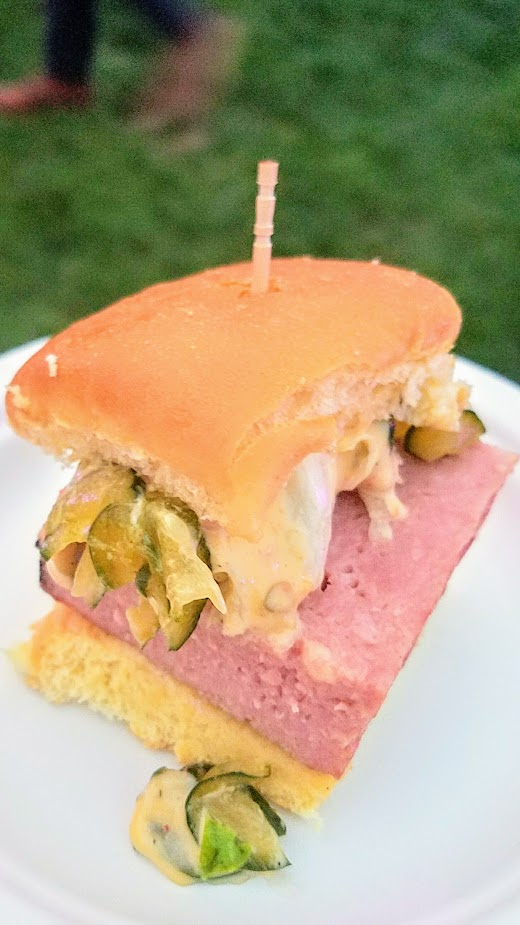 Review of Feast PDX Smoked 2017, Ravi Kapur of Liholiho Yacht Club from San Francisco with Smoked Homemade Spam, Hawaiian Roll, Kimchi Cucumber, 1000 Island, Iceberg