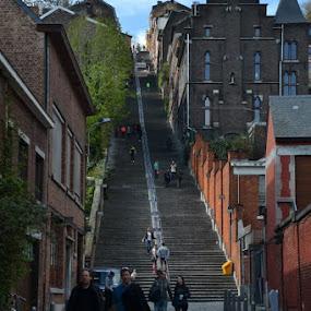 Escalier de Bueren by Els He - City,  Street & Park  Historic Districts ( town, city, stairs, luik, stairway, belgium,  )