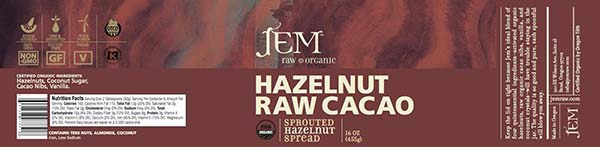 Label, JEM Raw Organic HAZELNUT RAW Cacao Sprouted Hazelnut Spread, 16 oz.