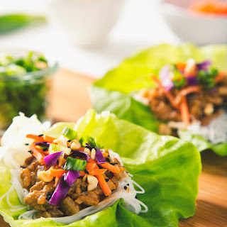 Vegan Thai Lettuce Wraps with Peanut Sauce.
