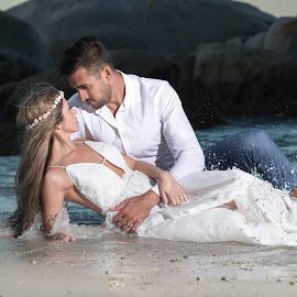 Drown the gown by Junita Fourie-Stroh - Wedding Bride & Groom ( waves, wedding dress, seascape, wedding photography, wedding photographer, ocean, bride and groom, wedding )