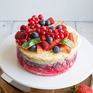 Fresh Fruit Frozen Yoghurt Layer Cake.