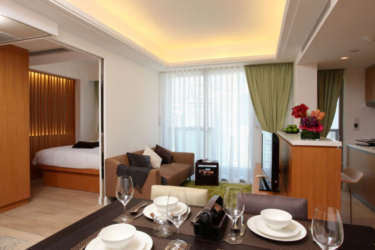 Luxury dining space at Queens Road Serviced Apartments, Wan Chai