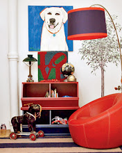 Photo: A dog painting by Julia McClurg and a lamp and chair from Pottery Barn Kids take center stage in son Wyatt's room.