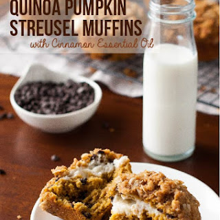 Quinoa Pumpkin Muffins with Cream Cheese Filling and Streusel Topping