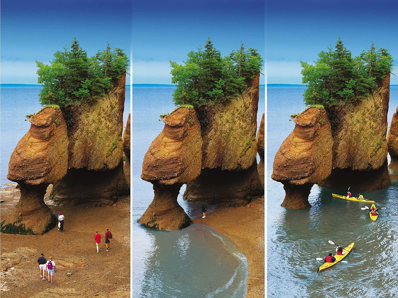 A time lapse sequence of Hopewell Rocks, northeast of Saint John, NB, as the tide changes.