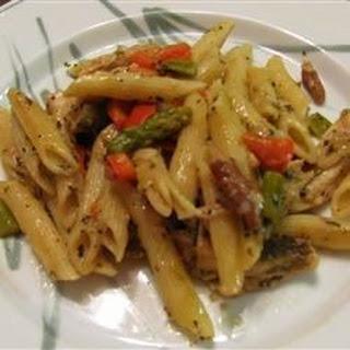 Asparagus, Chicken, and Pecan Pasta.