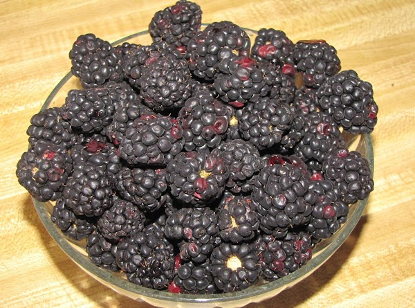 A bowl of chilled blackberries I picked from our bushes.