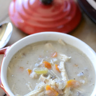 Creamy Crock Pot Chicken And Wild Rice Soup.