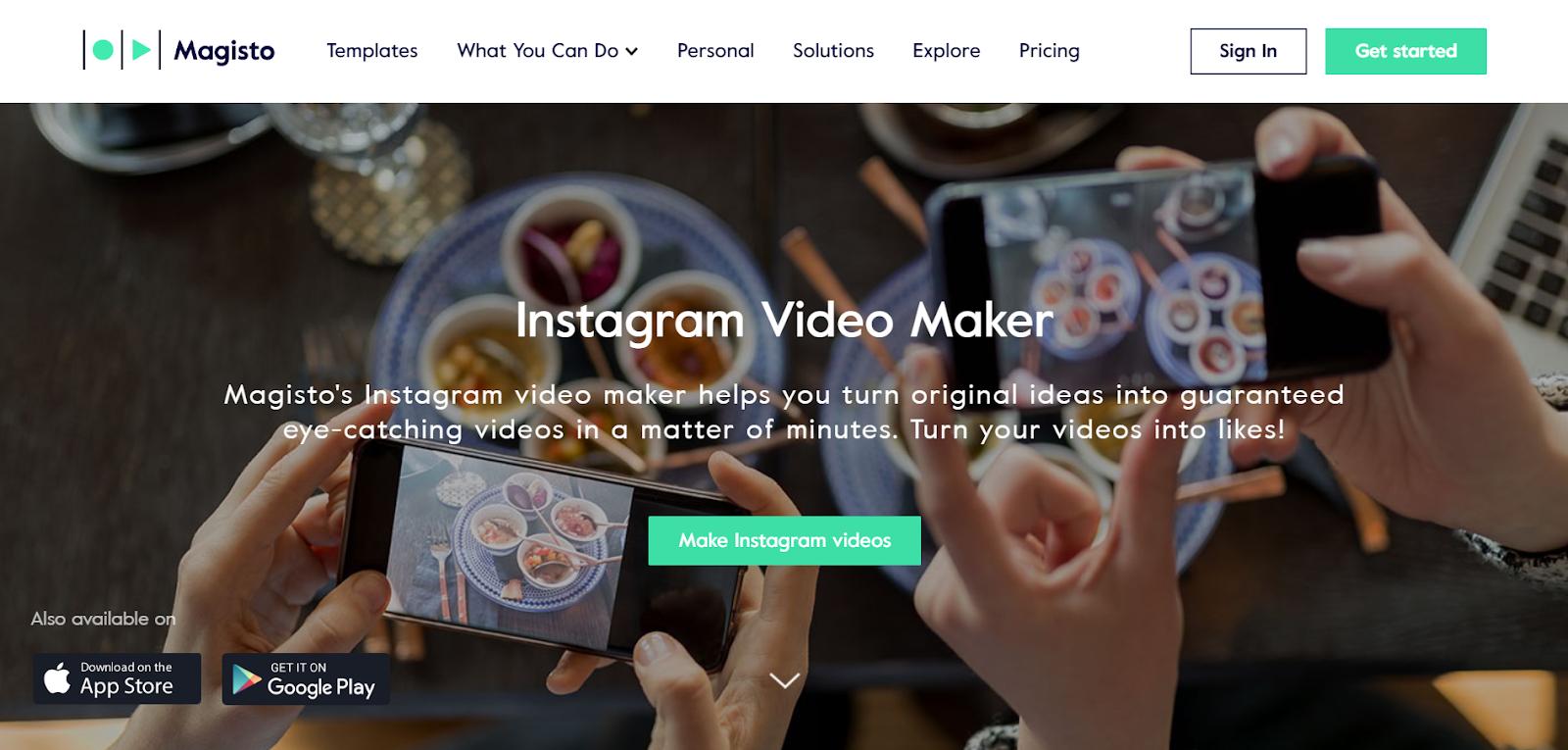 Instagram video creation app
